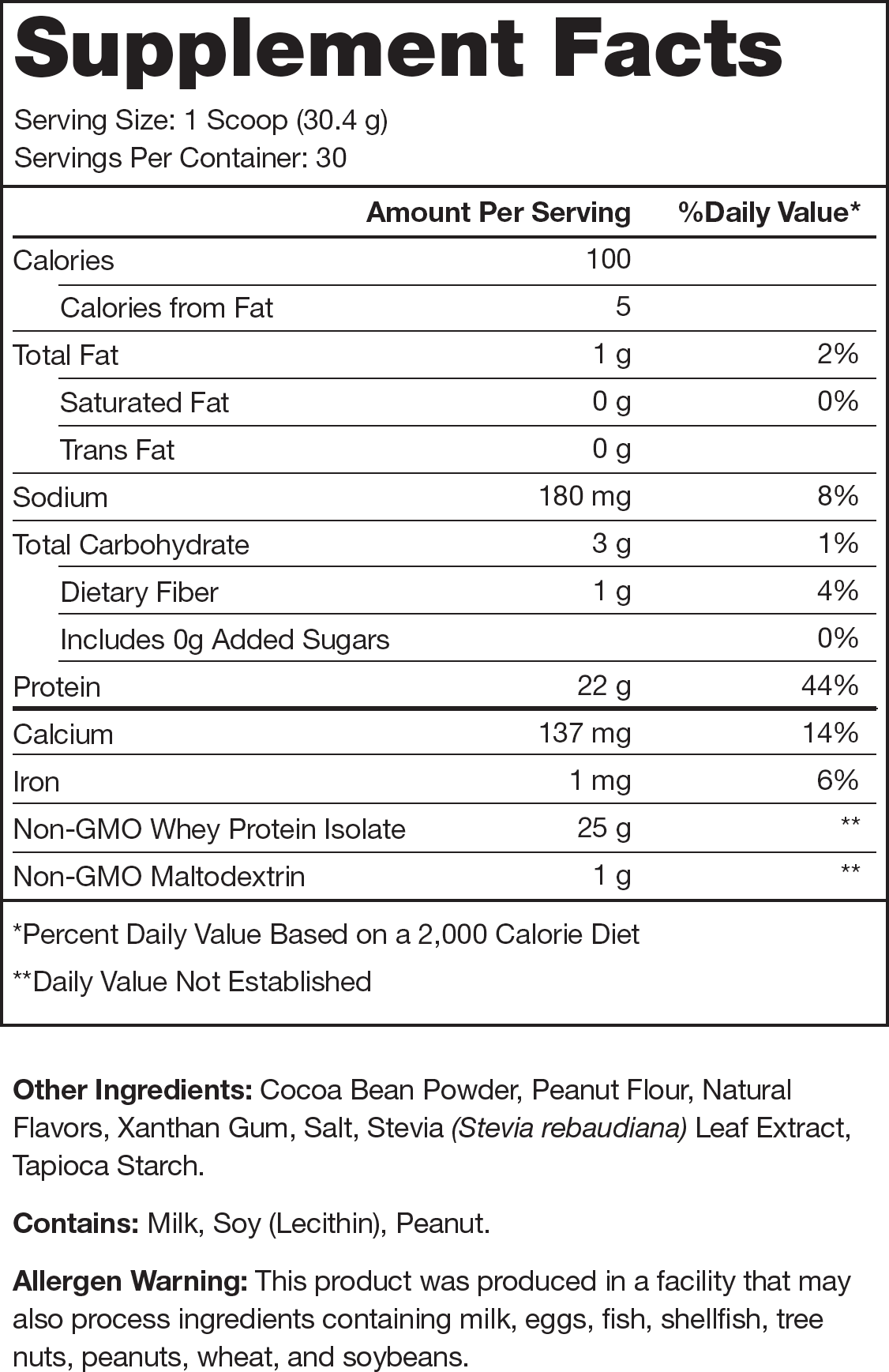 Whey+ Chocolate Peanut Butter Supplement Facts