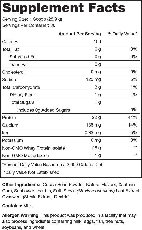 Whey+ Chocolate Supplement Facts