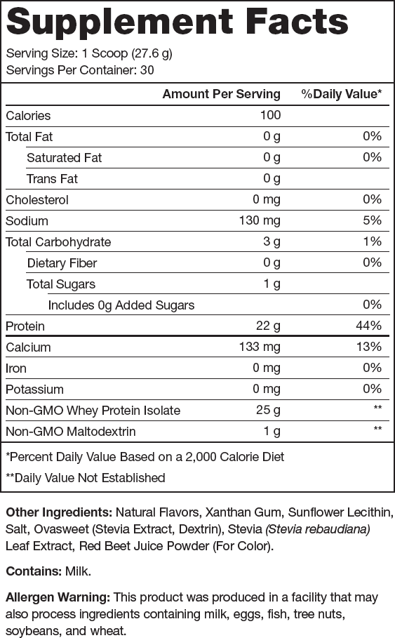 Whey+ Strawberry Banana Supplement Facts