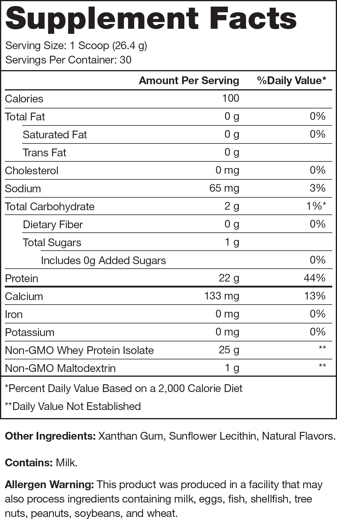 Whey+ Unflavored Supplement Facts