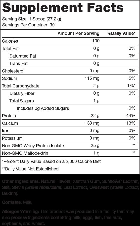 Whey+ Vanilla Supplement Facts