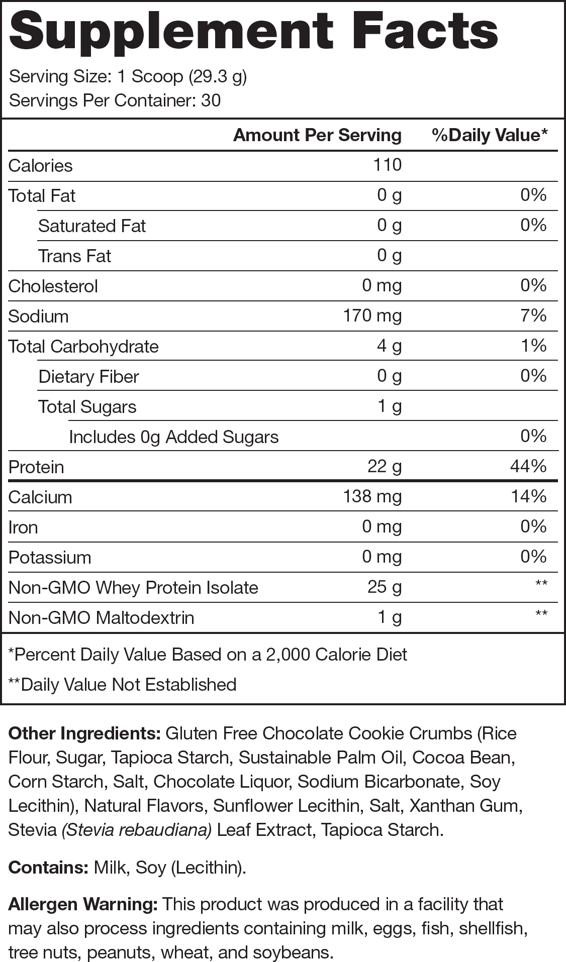 Whey+ Cookies and Cream Supplement Facts