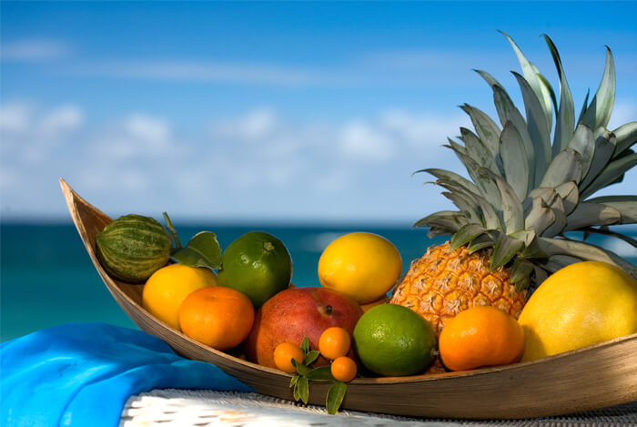 tropical fruit sea side bowl