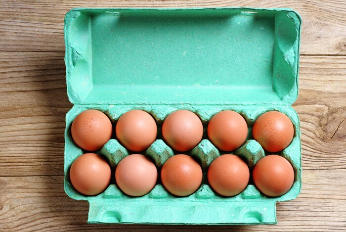 eggs in green carton