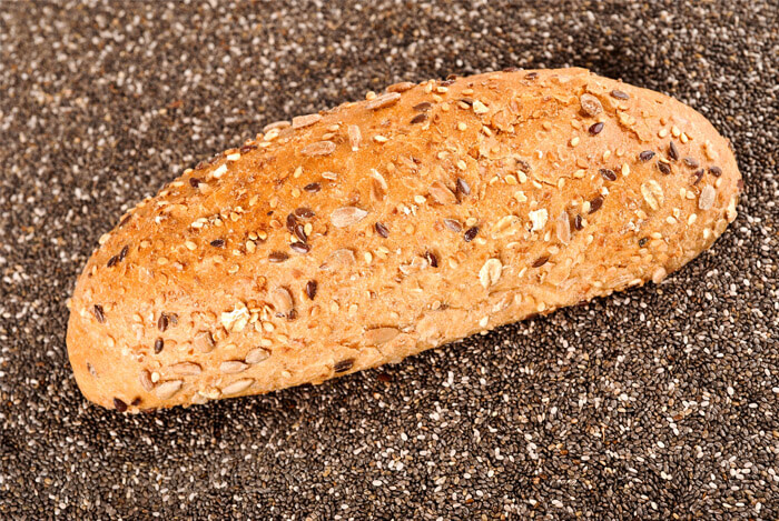 chia bread carbs fibre