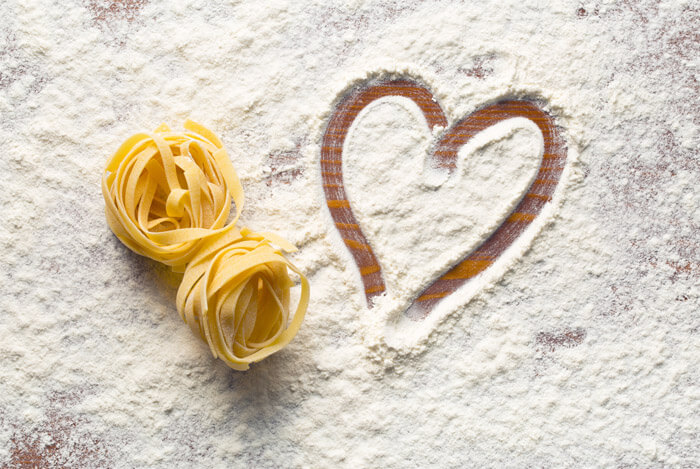 flour pasta heart