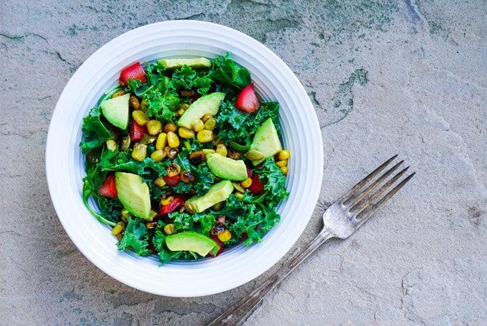 kale salad bowl fork