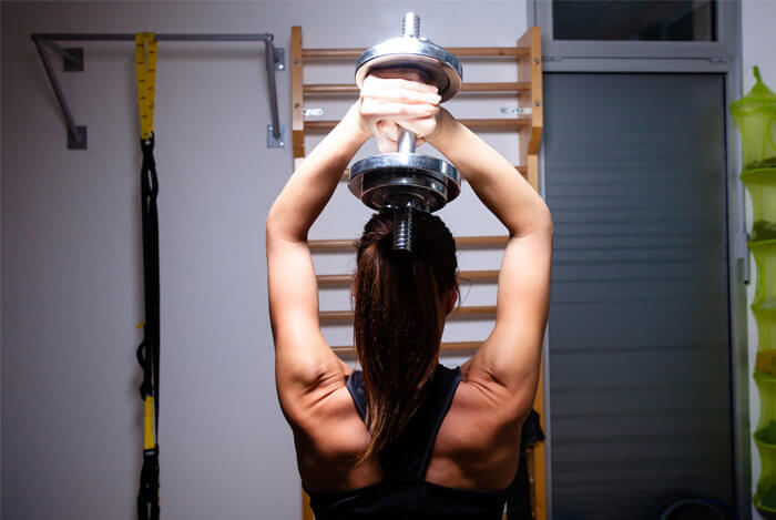woman strength training