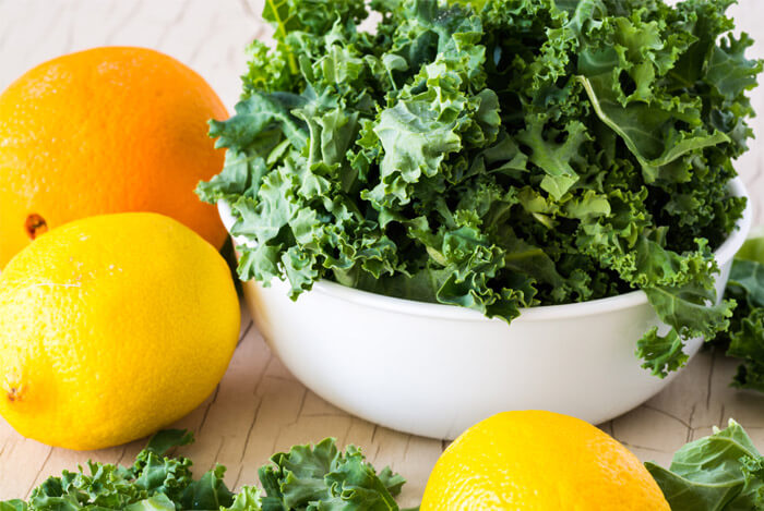 orange lemons bowl kale