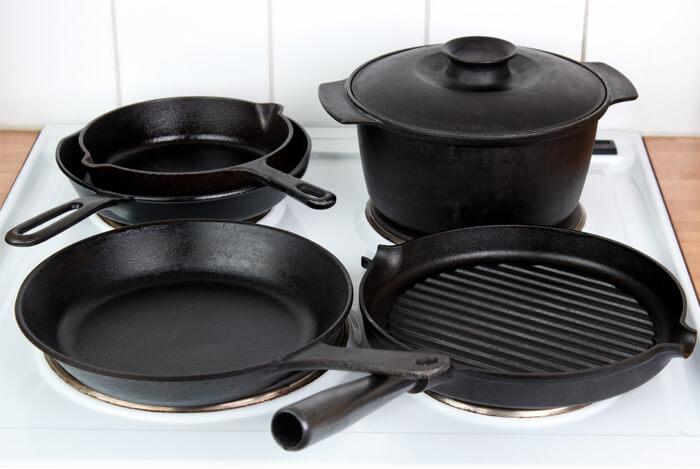 cast iron black pots pans