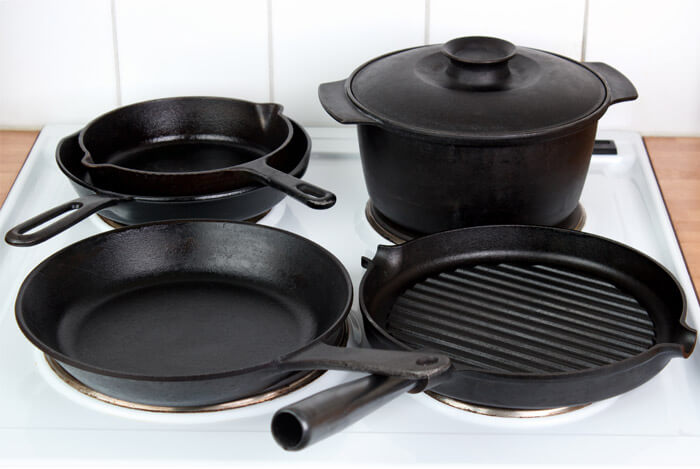 cast iron black pots pans