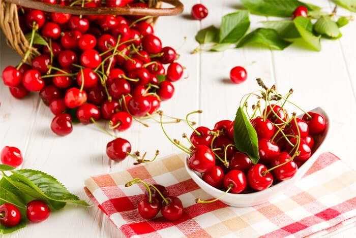 tartan cloth red cherries