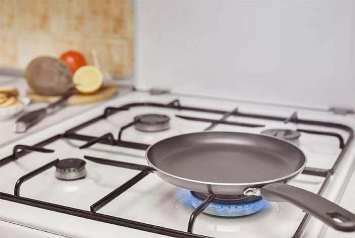 empty non stick pan on heat
