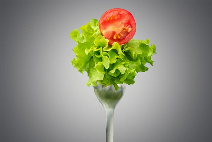 salad on fork