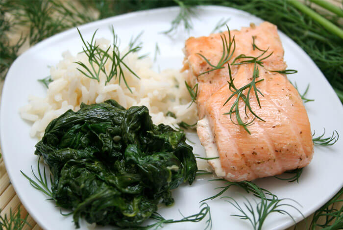Crispy Coconut Rice and Kale with Roasted Salmon