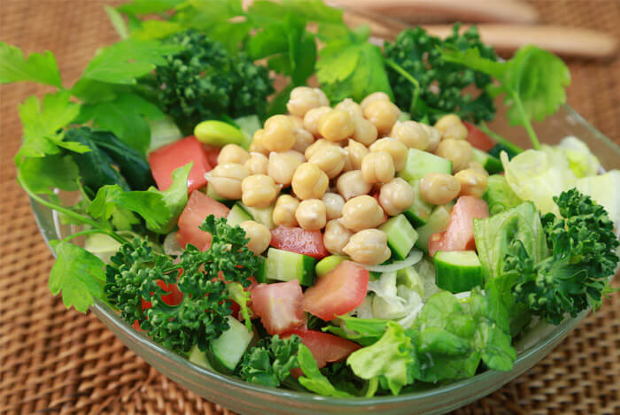 chickpeas on salad