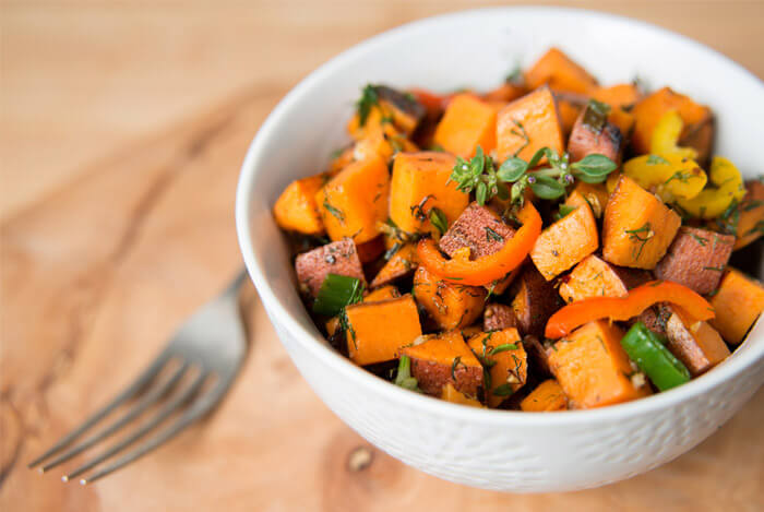 sweet potato cubed bowl