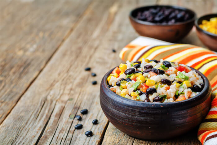 black beans corn rice