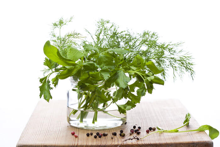 arrange fresh herbs