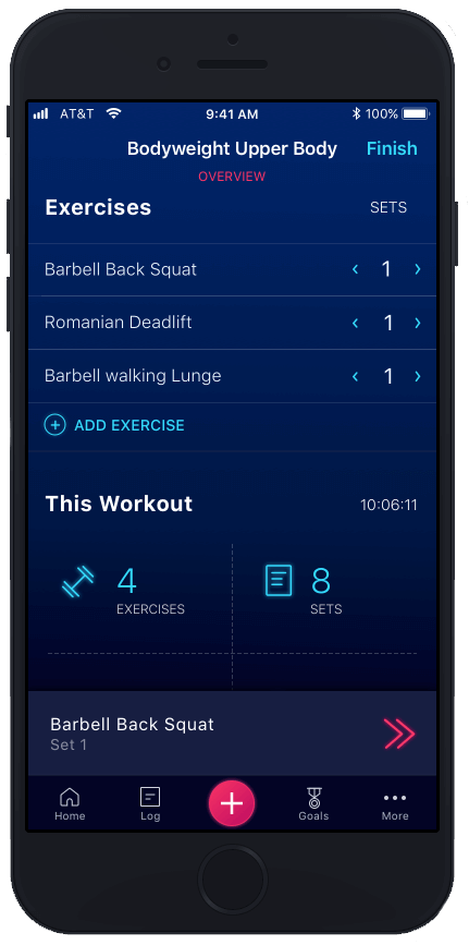 stacked workout review interface