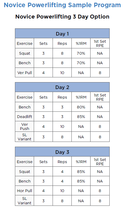 novice powerlifting program sample