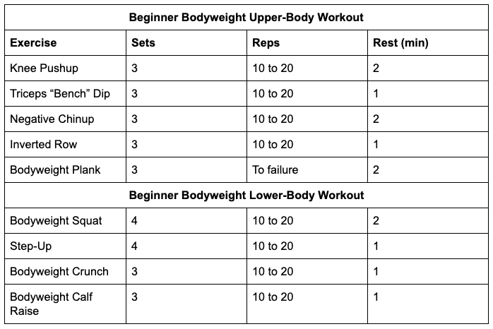 Beginners body weight workouts