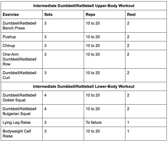 Intermediate Dumbbell/Kettlebell Workout