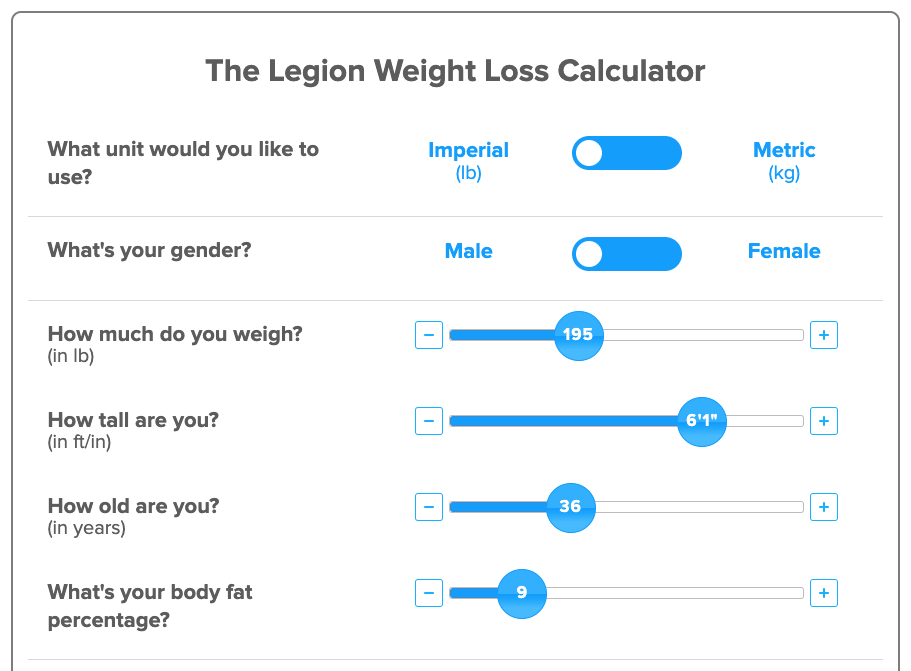 weight loss calculator percentage