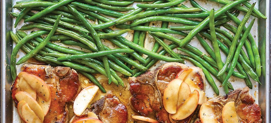 Baked Apple Pork Chops & Green Beans