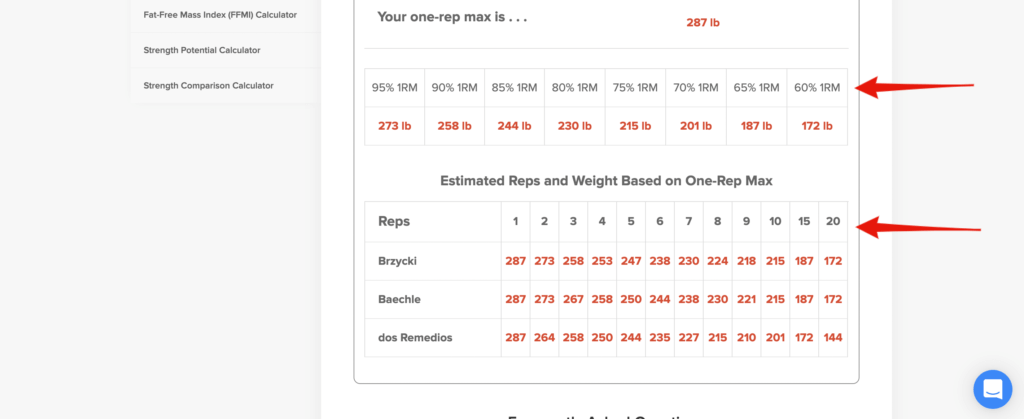 one rep max calculator bench