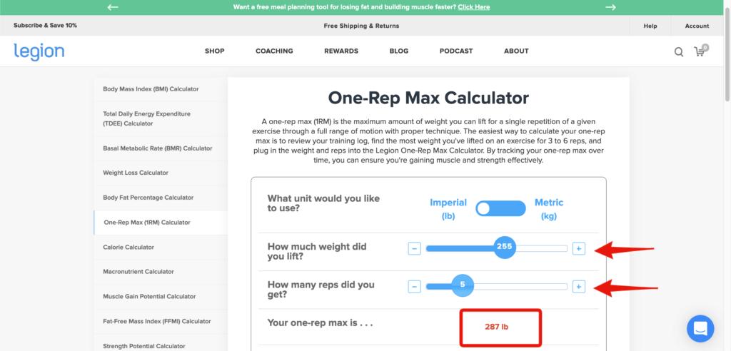 1 rep max formula