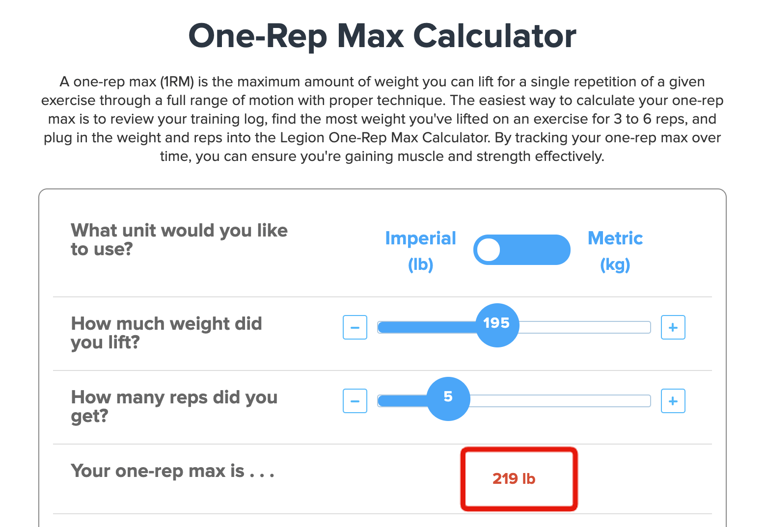 one rep max calc